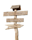 Wooden sign post with clipping path included. Wooden sign post isolated on white background with clipping path included Royalty Free Stock Image