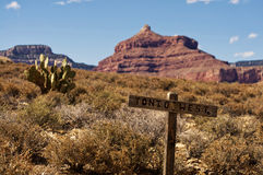 Wooden Sign Post in Grand Canyon Stock Photo