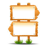 Wooden sign post icon symbol label Stock Images