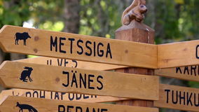 Wooden sign post where there is directions. Wooden post where there is directions where you would know where to look for a certain animal and on what direction stock footage