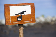 Wooden sign protecting a closed nesting area, Galapagos Royalty Free Stock Photography