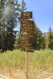 Wooden sign at Red's Meadow Resort & Pack Station Stock Photo