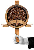 Wooden Sign with Roasted Coffee Beans Royalty Free Stock Image