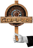 Wooden Sign with Roasted Coffee Beans Stock Photo
