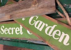 Wooden sign secret garden Royalty Free Stock Image