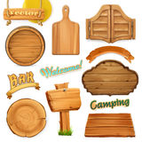 Wooden sign set. Template for logo, emblem. Vector Royalty Free Stock Photos