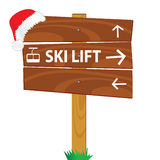 Wooden sign for the ski lift Stock Photo