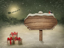 Wooden sign in snow stock illustration