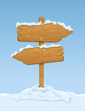 Wooden sign with snow Royalty Free Stock Images