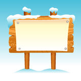 Wooden sign snow winter post icon symbol label set Stock Photography
