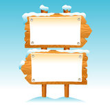 Wooden sign snow winter post icon symbol label set Royalty Free Stock Photo