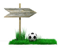 Wooden sign with soccer ball Royalty Free Stock Images
