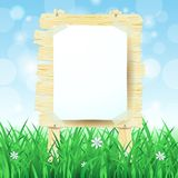 Wooden sign on spring background Royalty Free Stock Photography