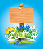 Wooden sign and spring flowers. Stock Images