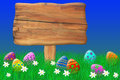 Wooden Sign Surrounded by Easter Eggs. On a bright summer day Royalty Free Illustration