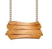 Wooden sign suspended on chains Royalty Free Stock Image