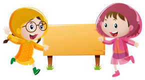 Wooden sign template with two girls in raincoat. Illustration Stock Image