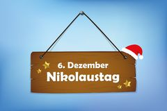 Wooden sign 6th december Saint Nicholas Day blue background. Vector illustration royalty free illustration
