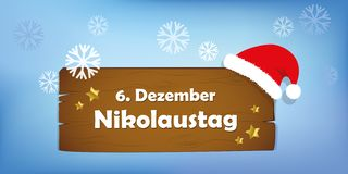 Wooden sign 6th december Saint Nicholas Day snow background. Vector illustration stock illustration