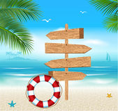 Wooden Sign on a Tropical Beach Royalty Free Stock Images