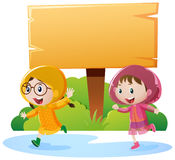 Wooden sign and two girls in raincoat. Illustration Stock Images