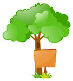 Wooden sign under the tree. Illustration Royalty Free Stock Image