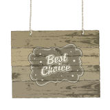 Wooden sign with vintage label. Royalty Free Stock Images