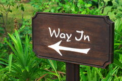 Wooden sign Way In Stock Photos