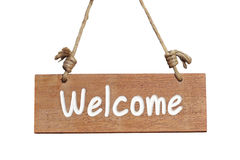 Wooden sign with welcome word Stock Photos