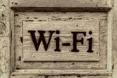Wooden sign Wi-Fi Royalty Free Stock Image