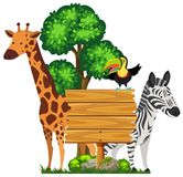Wooden sign with wild animals in zoo. Illustration Stock Photography