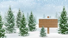 Winter forest wooden sign Stock Photos