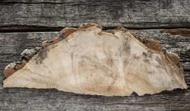 Wooden sign on wood plank background Royalty Free Stock Photos