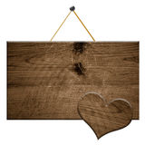 Wooden sign an wooden heart Royalty Free Stock Photos