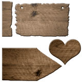 Wooden sign an wooden heart icon Royalty Free Stock Image