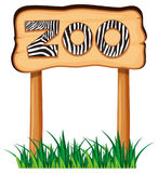 Wooden sign with word zoo. Illustration Royalty Free Stock Photography