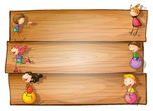 A wooden signage with kids playing. Illustration of a wooden signage with kids playing on a white background Stock Image