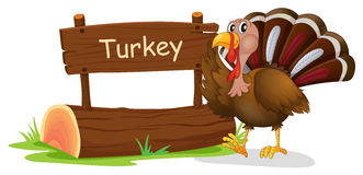 A wooden signage with a turkey Royalty Free Stock Images