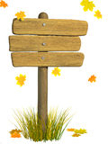 Wooden signboard. Autumn Royalty Free Stock Images