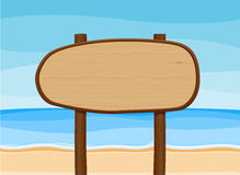 Wooden signboard in beach Royalty Free Stock Photography