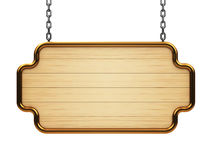 Wooden signboard on chain Stock Photo