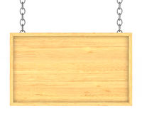 Wooden signboard on the chains. Isolated 3D Stock Image
