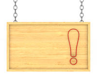 Wooden signboard on the chains. Isolated 3D Royalty Free Stock Photo