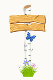 Wooden signboard with flowers and butterflies. Stock Images
