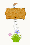 Wooden signboard with flowers and butterflies. Royalty Free Stock Image