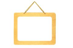 Wooden signboard hanging on chains Stock Photography
