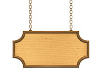 Wooden signboard hanging on metalic chains Royalty Free Stock Photography