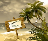 Wooden signboard on idealistic tropical beach Stock Images