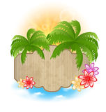 Wooden signboard with palms and flowers on the sea Royalty Free Stock Photography