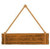 Wooden signboard on the rope vector illustration